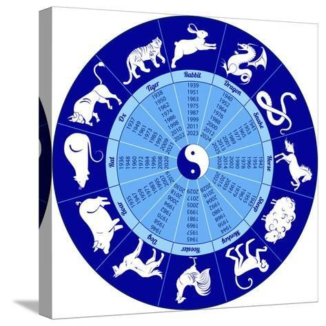 Chinese Calendar Animals-Olga_I-Stretched Canvas Print