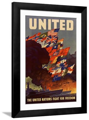 United The United Nations Fight for Freedom WWII War Propaganda--Framed Art Print