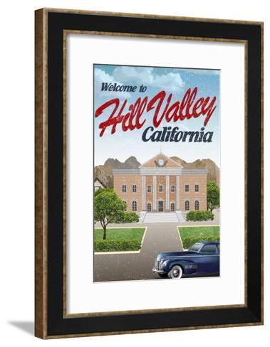 Hill Valley California Retro Travel--Framed Art Print