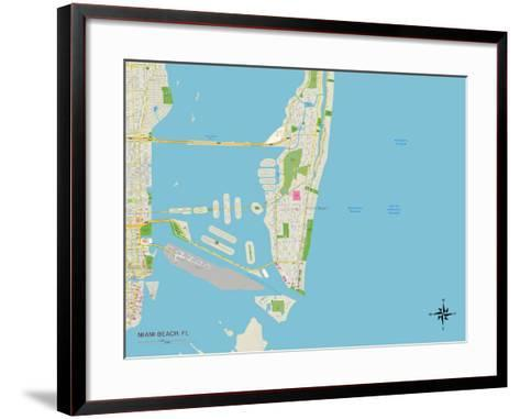 Political Map of Miami Beach, FL--Framed Art Print