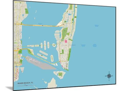 Political Map of Miami Beach, FL--Mounted Art Print