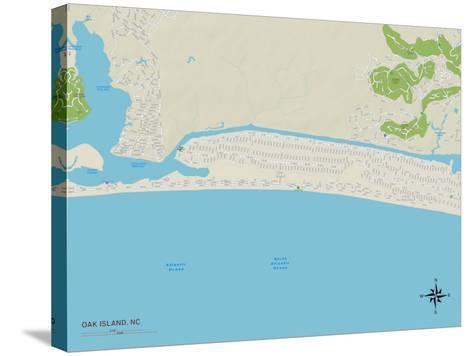 Political Map of Oak Island, NC--Stretched Canvas Print
