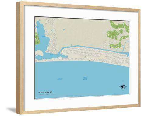 Political Map of Oak Island, NC--Framed Art Print