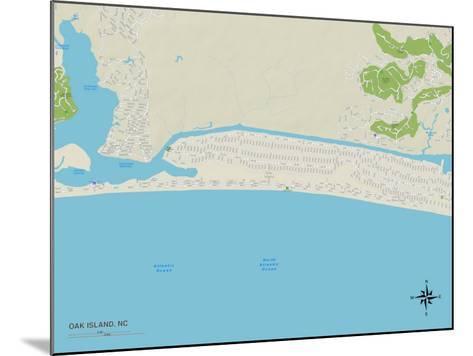 Political Map of Oak Island, NC--Mounted Art Print