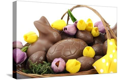 Easter Chocolate Hamper of Eggs and Bunny Rabbits Basket.- millefloreimages-Stretched Canvas Print