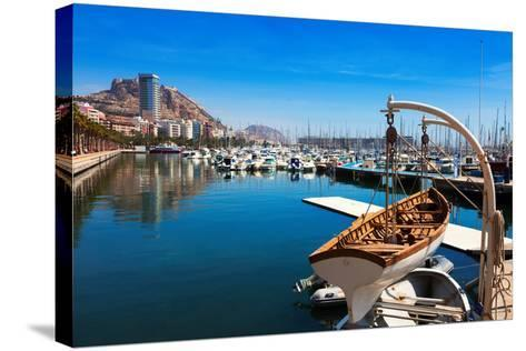 Port with Yachts in Alicante. Spain-JackF-Stretched Canvas Print