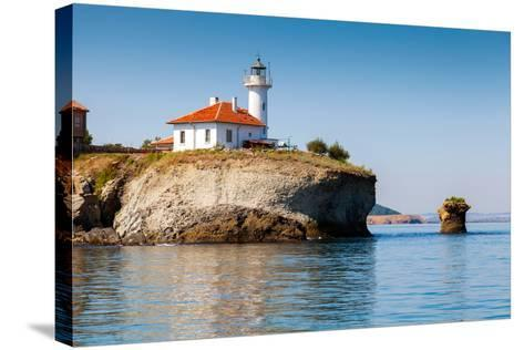 White Lighthouse Tower on St. Anastasia Island- eugenesergeev-Stretched Canvas Print