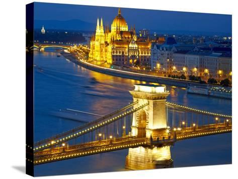 Budapest, Hungary. Chain Bridge and the Parliament-silver-john-Stretched Canvas Print