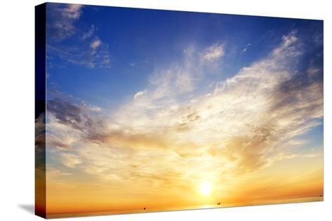 Sky Background and Water Reflection.-Andrii Salivon-Stretched Canvas Print