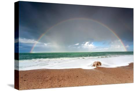 Big Colorful Rainbow over Ocean-Olha Rohulya-Stretched Canvas Print