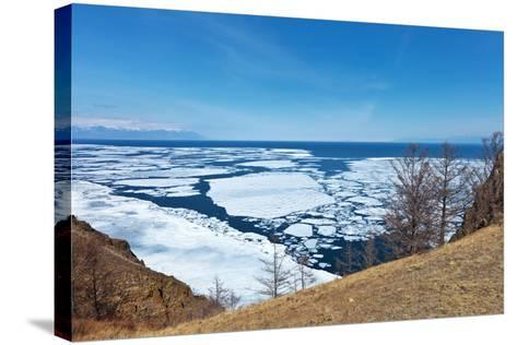 Lake Baikal in Spring. Top View of the Ice Drift-katvic-Stretched Canvas Print