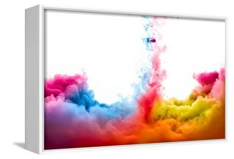 Raoinbow of Acrylic Ink in Water. Color Explosion-Casther-Framed Canvas Print