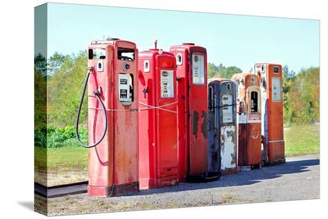 Vintage Abandoned Gas Tanks at Stations-Christin Lola-Stretched Canvas Print