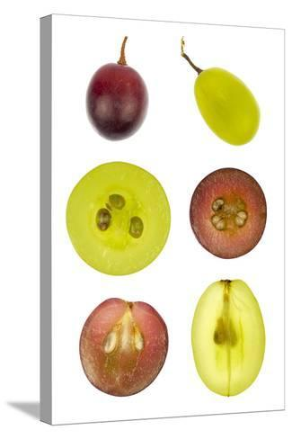 Collage of Sliced Red and Green Grapes-YellowPaul-Stretched Canvas Print