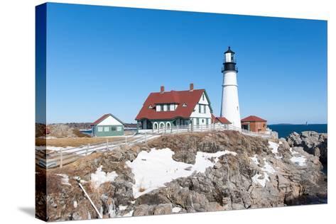 Portland, Maine - Portland Head Light in Winter-adamparent-Stretched Canvas Print