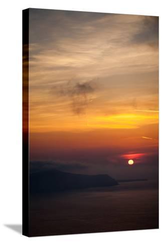 Misty Sunset over Greek Islands-EvanTravels-Stretched Canvas Print