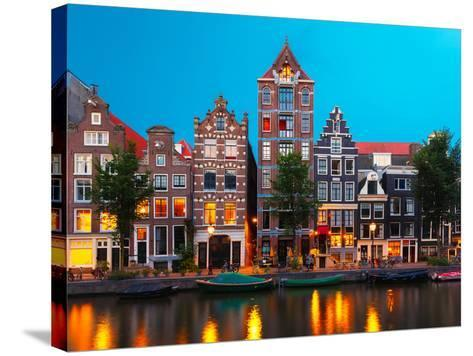 Night City View of Amsterdam Canal with Dutch Houses-kavalenkava volha-Stretched Canvas Print