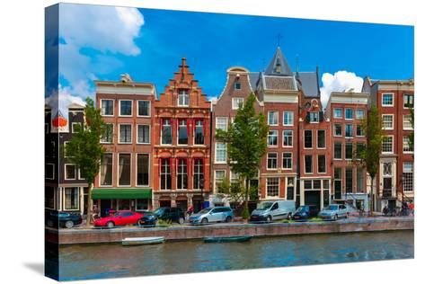 Night Amsterdam Canal with Dutch Houses-kavalenkava volha-Stretched Canvas Print