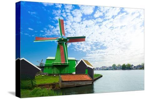 Authentic Zaandam Mills on the Water Channel-SerrNovik-Stretched Canvas Print