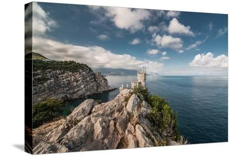 Decorative Swallow's Nest Castle Overlooking the Black Sea.-Yury Dmitrienko-Stretched Canvas Print