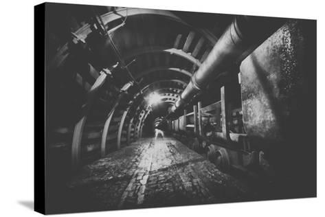 Underground Train in Mine, Carts in Gold, Silver and Copper Mine.-irontrybex-Stretched Canvas Print