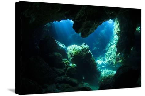 Sunlight Enters Underwater Cave like a Spotlight-Rich Carey-Stretched Canvas Print