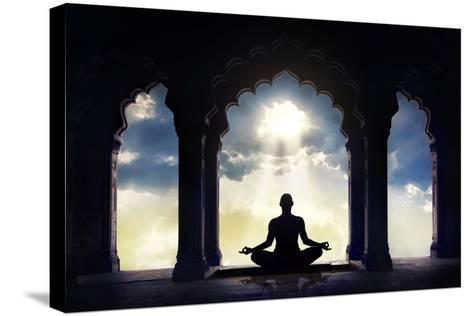 Meditating in Old Temple-Marina Pissarova-Stretched Canvas Print