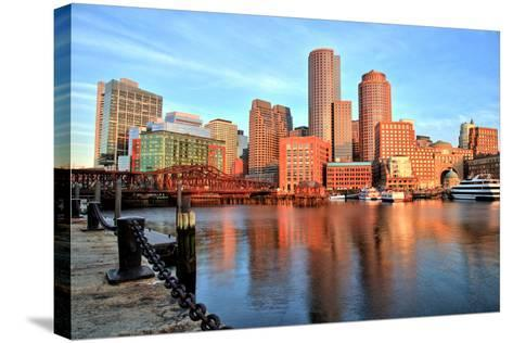 Boston Skyline with Financial District and Boston Harbor at Sunrise-Roman Slavik-Stretched Canvas Print