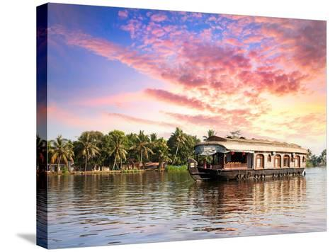 House Boat in Backwaters-Marina Pissarova-Stretched Canvas Print