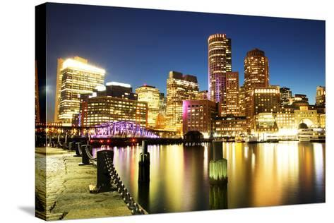 Boston Skyline with Financial District and Boston Harbor-Roman Slavik-Stretched Canvas Print