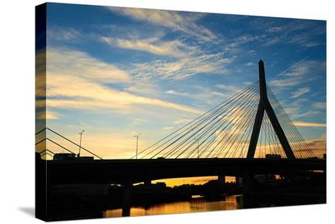 Zakim Bunker Hill Memorial Bridge at Sunset in Boston, Massachusetts-haveseen-Stretched Canvas Print
