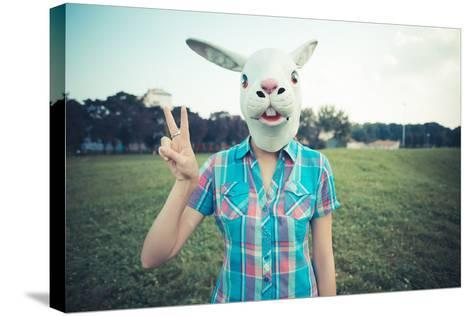 Rabbit Mask Absurd Beautiful Young Hipster Woman-Eugenio Marongiu-Stretched Canvas Print