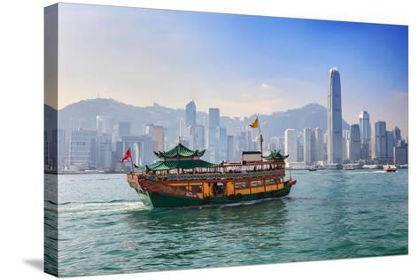 Hong Kong City Skyline View from Kowloon- Noppasinw-Stretched Canvas Print