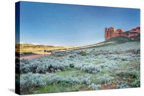 Prairie, Shrubland and Sandstone Rock Formation in Northern Colorado near Wyoming Border - Sand Cre-PixelsAway-Stretched Canvas Print