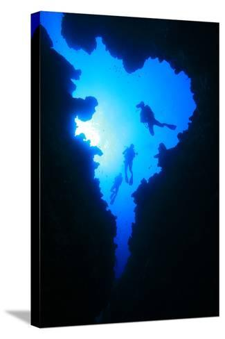 Scuba Divers Descend into Underwater Cavern, Silhouetted against Sun-Rich Carey-Stretched Canvas Print