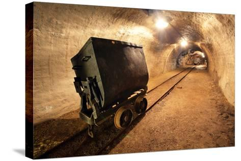 Underground Train in Mine, Carts in Gold, Silver and Copper Mine.-TTstudio-Stretched Canvas Print