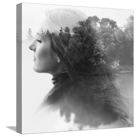 Double Exposure of Young Female and the Forest near the Lake(Tilt-Shift Lens)-Kuzma-Stretched Canvas Print