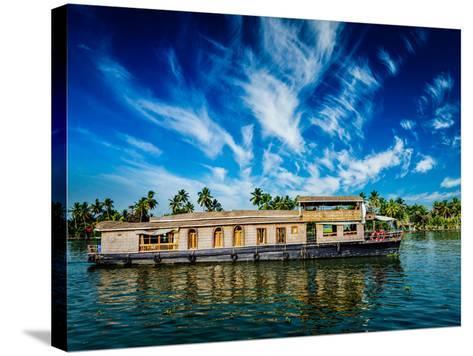 Kerala India Travel Background - Houseboat on Kerala Backwaters. Kerala, India-f9photos-Stretched Canvas Print