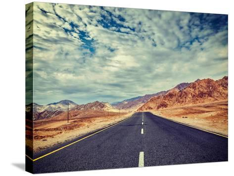 Vintage Retro Effect Filtered Hipster Style Travel Image of Travel Forward Concept Background - Roa-f9photos-Stretched Canvas Print