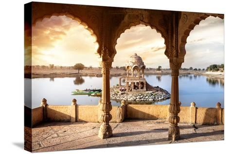Temple on the Water in India-Marina Pissarova-Stretched Canvas Print