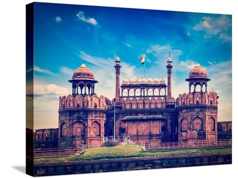Vintage Retro Hipster Style Travel Image of India Travel Tourism Background - Red Fort (Lal Qila) D-f9photos-Stretched Canvas Print