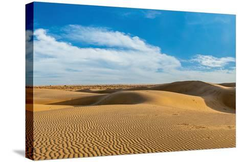 Panorama of Dunes Landscape with Dramatic Clouds in Thar Desert. Sam Sand Dunes, Rajasthan, India-f9photos-Stretched Canvas Print