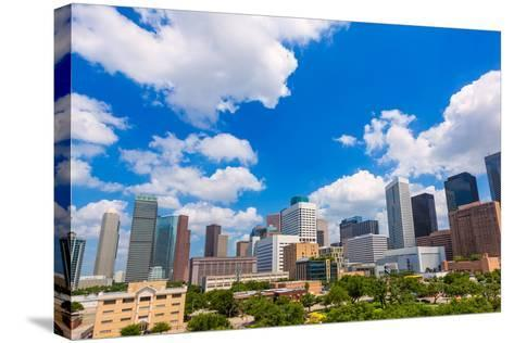 Houston Skyline from South in Texas US USA-holbox-Stretched Canvas Print