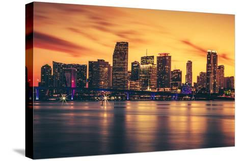 City of Miami at Sunset-prochasson-Stretched Canvas Print
