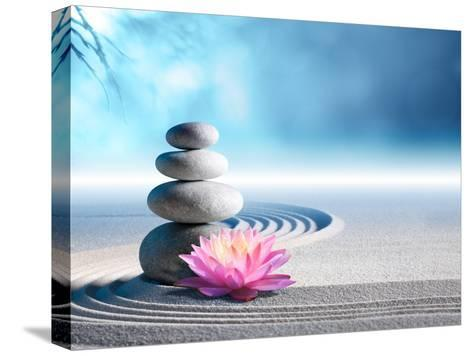 Sand, Lily and Spa Stones in Zen Garden-Romolo Tavani-Stretched Canvas Print