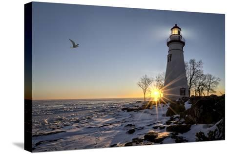 Marblehead Lighthouse Sunrise-Michael Shake-Stretched Canvas Print