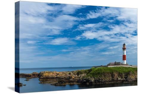 Buchan Ness Lighthouse at Boddam- panalot-Stretched Canvas Print