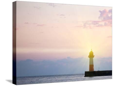 Lighthouse Light at Sunset-Alexander Potapov-Stretched Canvas Print