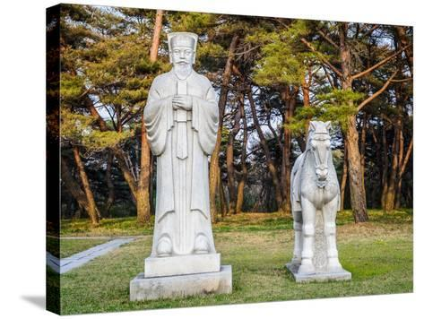 Scientifics and Horses Statues on the Road to the Tombs of Ancient Koguryo Kingdom, Pyongyang, Nort-siempreverde22-Stretched Canvas Print