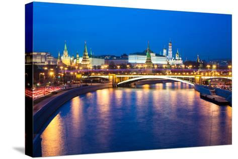 Dusk View of the Moscow Kremlin-Elena Ermakova-Stretched Canvas Print